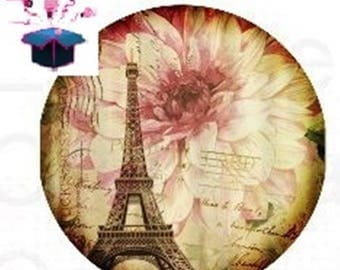 1 cabochon clear 18 mm Paris theme