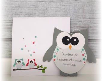 Baptism - twins birth announcement - shaped OWL invitation