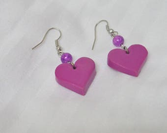 Polymer clay Purple Heart Earrings