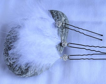 Bobby pin, peak bun wedding accessory bridal hair accessories bridal Pearl rhinestone and white feather