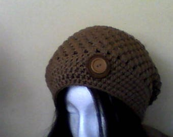 Brown knited hat,hat, handmade crocheted,