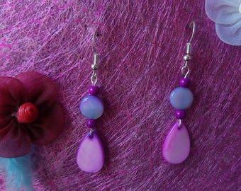 dangle earrings shade of purple