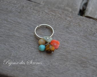 Adjustable silver ring turquoise coral Tiger eye