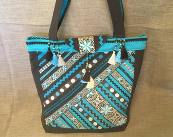Bohemian bag, turquoise and chocolate tote bag, ribbons and tassels