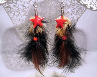 Earrings feathers and Red Star