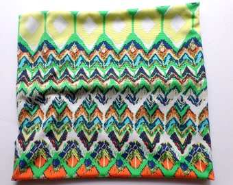 Elastic Headband, Neck Warmer, Yoga Band, Knit Fabric in Green, Orange and Yellow Chevron