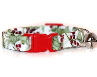 Christmas Cat Collar, Custom Red and Green and White Holly Cat Collar with your choice of breakaway buckle colour