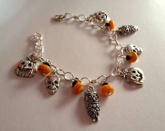 Orange haloween pumpkin OWL and skull charms bracelet