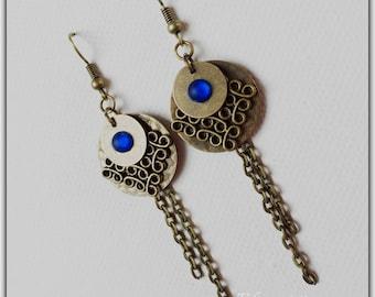 Earrings retro earrings, stud earring, bronze sequins, long earring