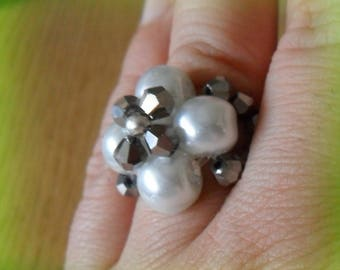 White and silver braided flower ring