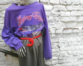 Vintage FLYING TIGER print 90s Sweatshirt