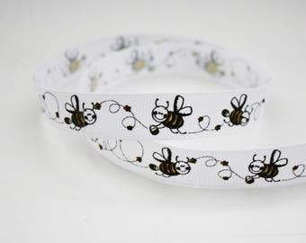 Ribbon grosgrain Ribbon 15 mm, 1 m bees, bee on white pattern