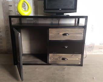 1 door 2 steel industrial tv stand drawers in wood