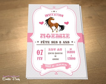 Customizable printable themed birthday invitation: horse