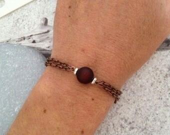Copper tassel bracelet