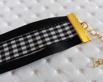 VICKY: Fancy checkered black and white MULTISTRAND Bracelet