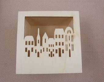 "Wooden box cut ""City"""