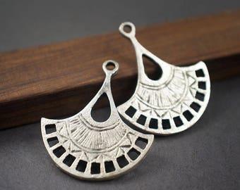 2 connectors fans Mykonos, chandeliers, silver-plated earrings * 30mm x 26mm