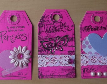 3 pink tags for your scrapbooking creations.