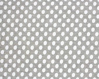 White Oval Dots on Heather Grey Cotton Jersey Blend Knit Fabric **UK Seller**