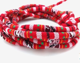 Red: 1 m cord weaving ethnic diameter 6mm (fil108)