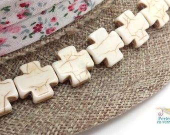 5 perles croix grecque Howlite blanc 15x15mm bijoux boho ethnique (ph240)