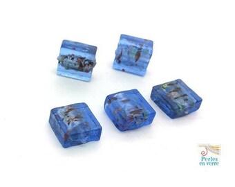 square 12X12mm blue glass (pv685) 5 beads