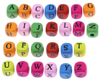 200 mixed wood letter Pr Bracelet 8x8mm square spacer beads