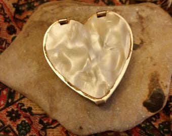 Heart Shaped Ring Box With Faux Mother of Pearl