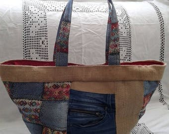 BAG in DENIM and burlap