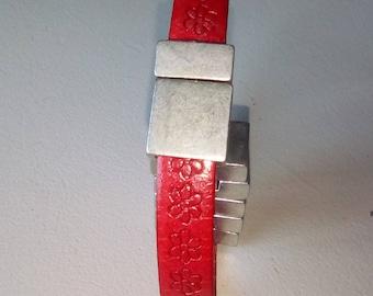 BRACELET leather red floral custom design