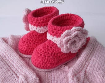 Pink booties in worsted wool