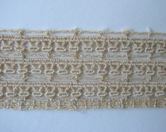 Ribbon, lace in-between, 40 mm, cotton, ecru, sold by the yard.