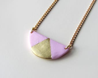 Minimalist graphic circle pink and gold triangle necklace