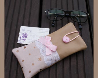 """little star"" genuine leather eyeglass or Sunglass case"