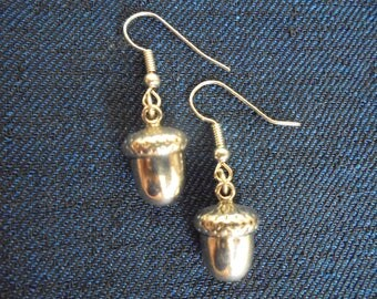 Pewter acorn charm earrings