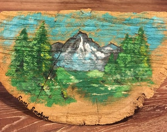 Landscape on Wood Piece