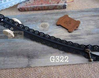 Promo / 5 x fancy lace 20cm black G322 lace zippers