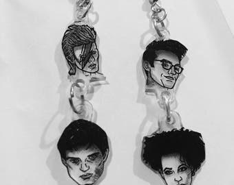 Bowie, Morrissey, Robert Smith, Ian Curtis earrings handmade