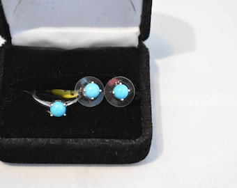 Arizona Sleeping Beauty Turquoise Platinum Over Sterling Silver Stud Earrings and Solitaire Ring 2.55 cts
