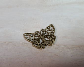 10 Charms 26mm x 38mm colored Butterfly bronze