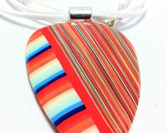 Necklace with pendant Fimo (polymer clay type) striped orange and multicolored