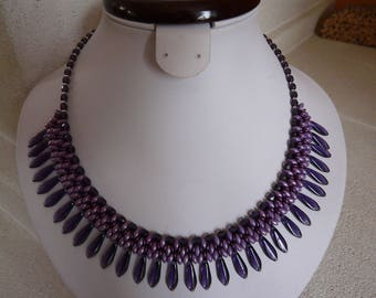 WOVEN WITH DAGGERS ' VIOLET' NECKLACE