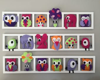 Orange wall decor for nursery and baby original and unique - owls birds forest - purple pink shades