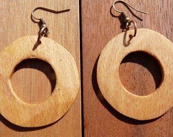 Rustic wood Earrings: hoop earrings