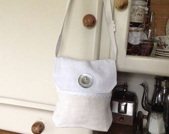 Shoulder bag made from vintage fabric, beige and white