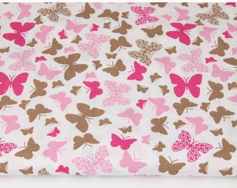 Pink butterfly print cotton fabric