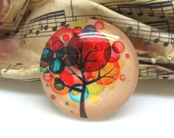1 cabochon 30 mm glass colorful tree - 30 mm
