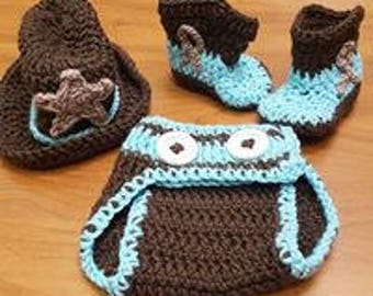 Crochet Cowboy or Cowgirl Boots and Hat