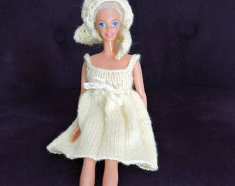 Short dress with spaghetti straps with stole for barbie